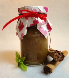 A jar of spicy rhubarb and fig compote